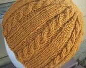 Wool Cable Knit Beanie Pumpkin