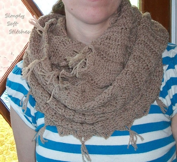 Wool Crochet Infinity Scarf Almond Black Friday/Cyber Monday Sale  Save 40% See Shop Announcement for Details