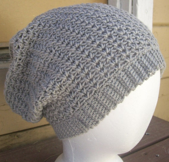 Wool/Silk Blend Crochet Slouchy Hat Robot Gray