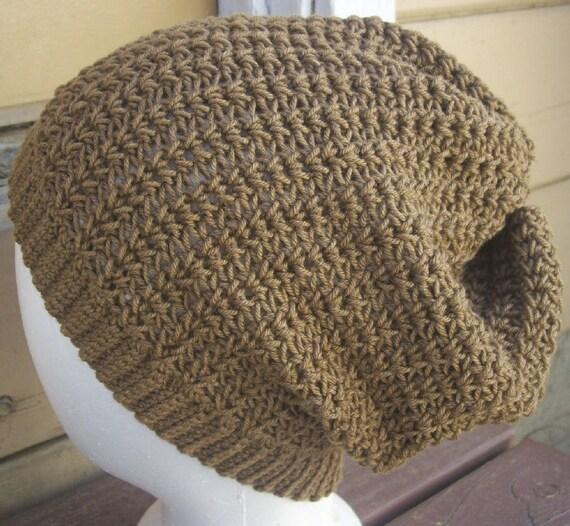 Wool/Silk Blend Crochet Slouchy Hat Doe