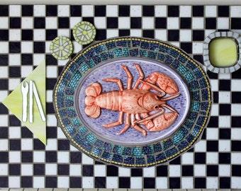 Mosaic, Multi Media, Glass, Ceramic Lobster Dinner