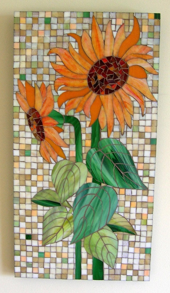 Orange Sunflower Glass Mosaic