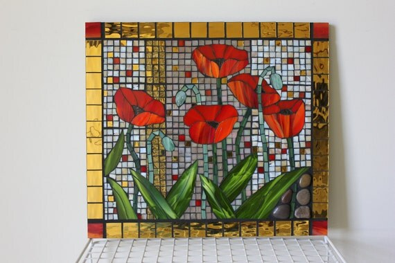 Mosaic, Stained Glass Red Poppies