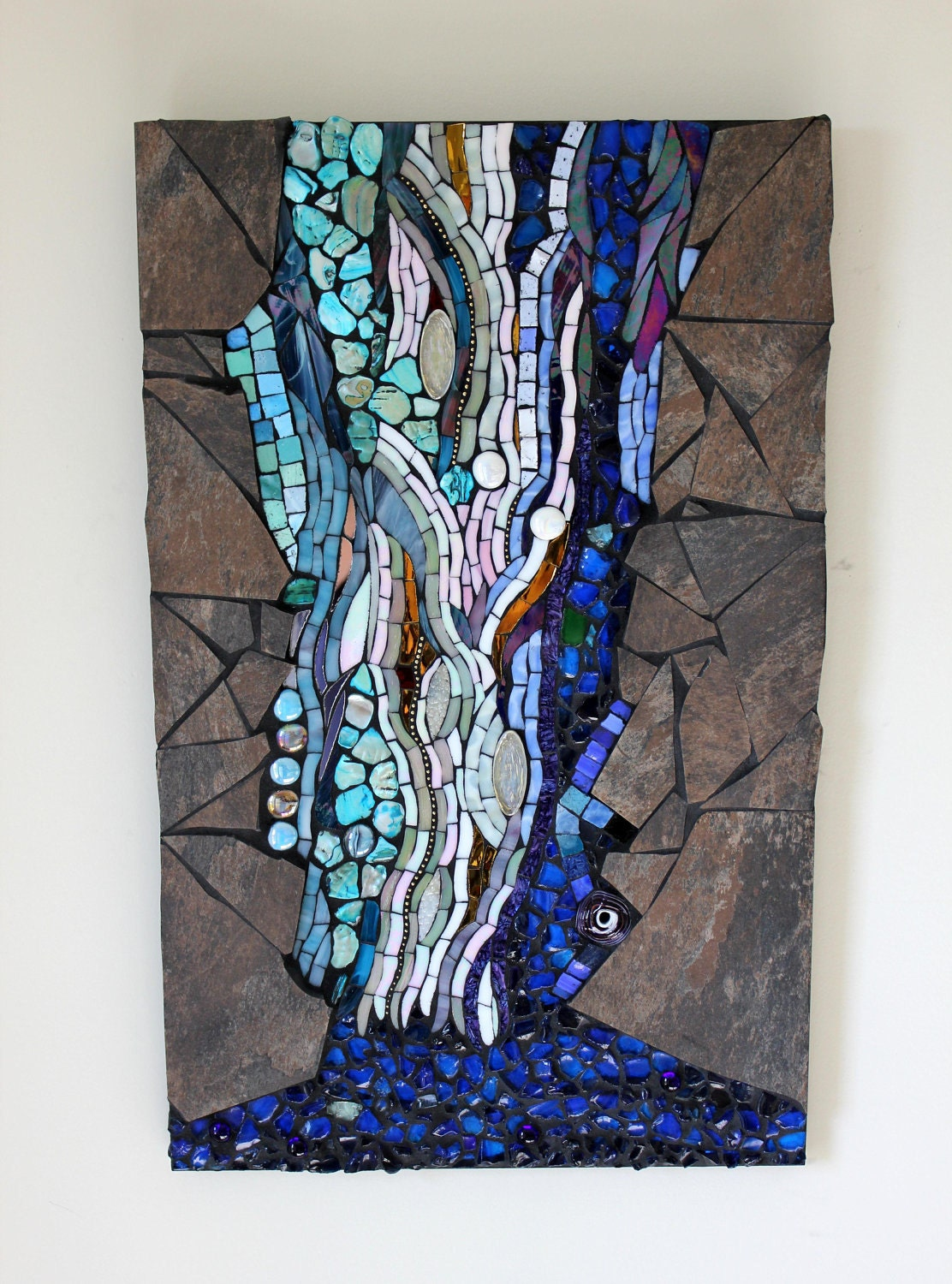 Stained glass mosaic water waterfall for Waterfall design etsy