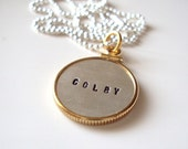 SALE - Linda Necklace-Goldfilled Frame Around Sterling Double Sided Hand Stamped Disc Charm