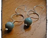 Hammered Hoops with Blue Jasper Sterling Silver Earrings