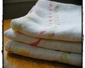 Vintage Linen Tablecloth Towels for Kitchen - Set of Three