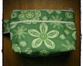 Green Flower and Ric Rac Wristlet Comsetic Bag