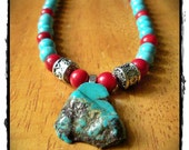 Turquoise and Coral Necklace with Free Form Pendant