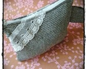 Grey Wool and Lace Wristlet