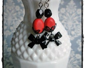 Salmon and Black Bow Earrings