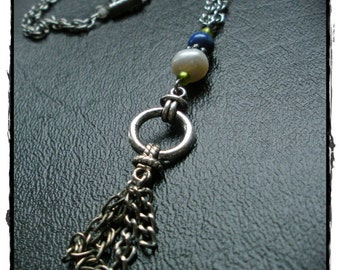 Lapis and Pearl Necklace with Vintage Chain