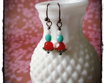 Tri Color Czech Milk Glass Earrings- Aqua, White, and Siam Red