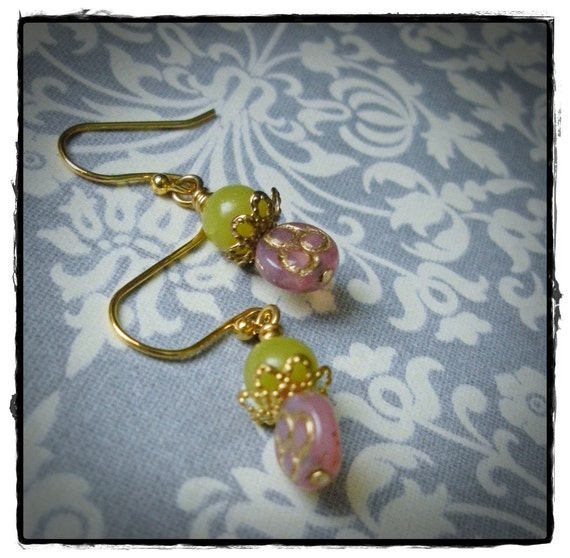Korean Jade and Pink Trifoil Gold Plate Earrings