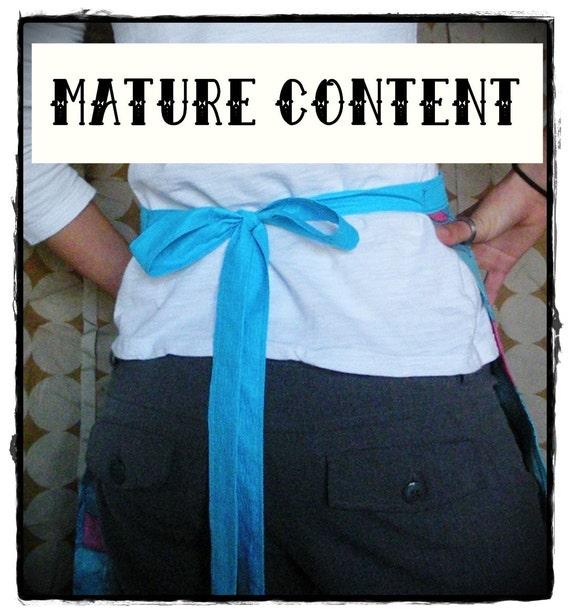 Blue & Pink Orgy Print 1/2 Apron- Mature Content