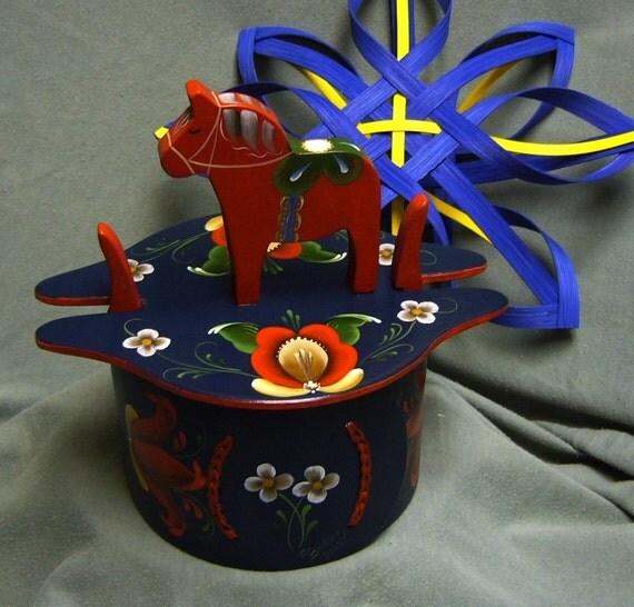 Swedish Red Dala Horse Box