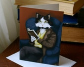 Cat Greeting Card Mr Bennet Cat Dressed in Suit Reading Book