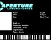 Aperture Visitors id Card portal 2 half life mesa