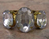 1960s Marquis Shaped Faux DIAMOND Adjustable Ring NICE