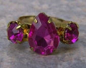 1960s Pear Shaped Faux PINK TOPAZ Adjustable Ring NICE