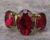 1960s Marquis Shaped Faux RUBY Adjustable Ring NICE