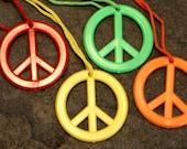 70s Big Plastic Peace Symbol Necklace NIXON Years