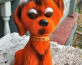 1950s Orange PITIFUL DOG Flock Bank MINT Carnival Prize