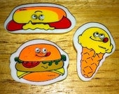 1980s Dairy Queen Googly Eyes JUNK FOOD Erasers Set of 3