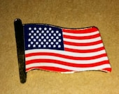 Small 1976 US Flag Pin with Safety Pin Back AMERICAN SPIRIT