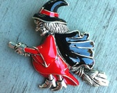 1970s Large Enamel Halloween Red Witch on Broom Brooch
