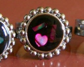 1970s NEW ZEALAND Ladies Paua Ring Round Cluster