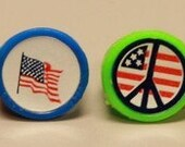 1960's Peace Love Sticker Ring PEACE FLAG