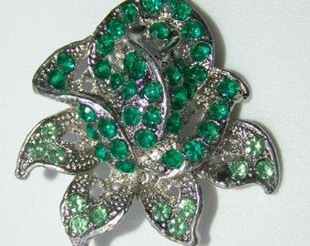 Vintage 1950s Rhinestone Brooch ROSE BUD in Green