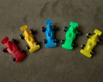 Set of FIVE 1970s Plastic RACE CARS with Action Wheels