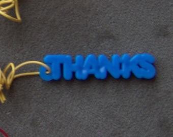 1970s Gum Machine Answer Word Necklace THANKS