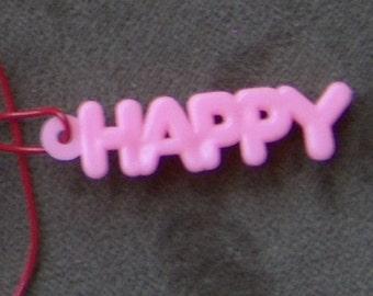 1970s Gum Machine Answer Word Necklace HAPPY