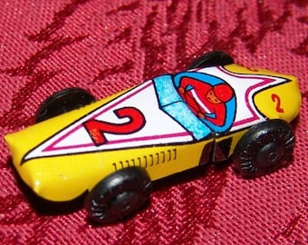 1960s Japanese Tin RACE CAR in Mint Condition No 2 YELLOW