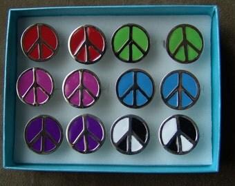 1970s PEACE SYMBOL Colored Tar Ring PURPLE COLOR