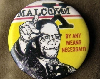 1975 Malcolm X Finger to the Air Button BY ANY MEANS Necessary