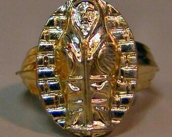 1950s Gold Joytown Iodized EGYPTIAN Toy Ring TOMB