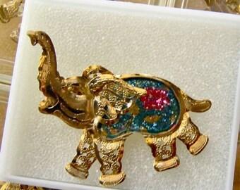 1960's Vintage Circus Glitter Pin MIB Elephant