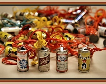 Set of SIX 1970s Novelty BEER Can Necklaces