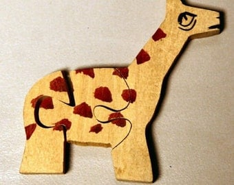 1955 Indian Made Wood Animal Puzzle GIRAFFE