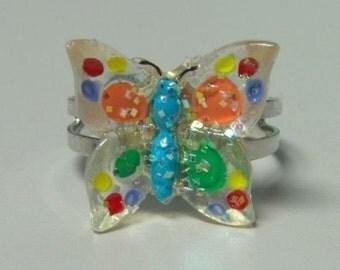 1972 ORIGINAL Metal Jelly Glaze Adjustable BUTTERFLY Ring TEN