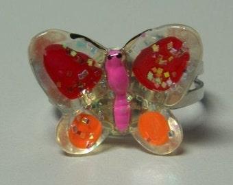 1972 ORIGINAL Metal Jelly Glaze Adjustable BUTTERFLY Ring NINE
