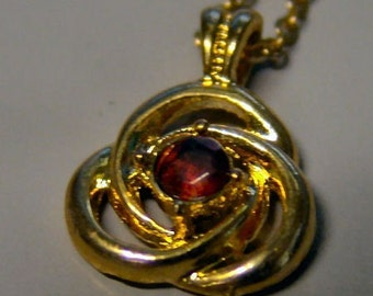 1960-70's 14K Pendent FUAX RUBY TRI-LOOP sixteen inch chain