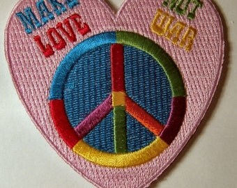 1960s-70s Hippie Peace Movement MAKE Love NOT War Patch 3 inch