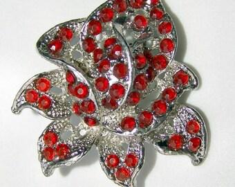 Vintage 1950s Rhinestone Brooch ROSE BUD in Red