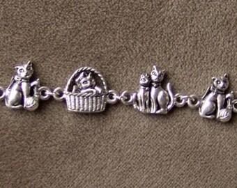 Vintage 1970s Silver Metal CAT Bracelet 7 inches