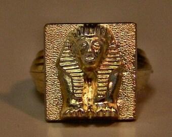 1950s Gold Joytown Iodized EGYPTIAN Toy Ring SPHINX